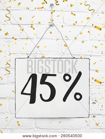 Forty Five 45 % Percent Off Black Friday Sale 45% Discount Golden Party Confetti Banner Billboard