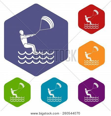 Man Takes Part At Kitesurfing Icons Set Rhombus In Different Colors Isolated On White Background