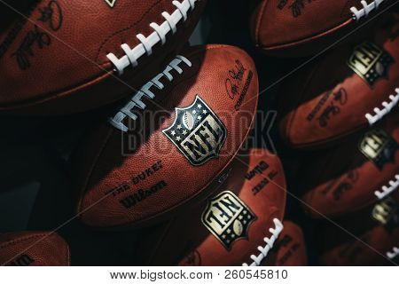 New York, Usa - May 28, 2018: Rows Of American Football Balls In Nfl Experience In Times Square, New
