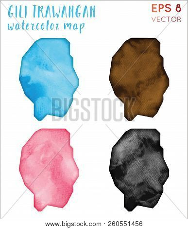 Gili Trawangan Watercolor Island Map. Handpainted Watercolor Gili Trawangan Map Set. Vector Illustra