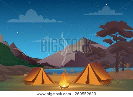 Vector Illustration Of Camping In Night Time With Beautiful View On Mountains. Family Camping Evenin