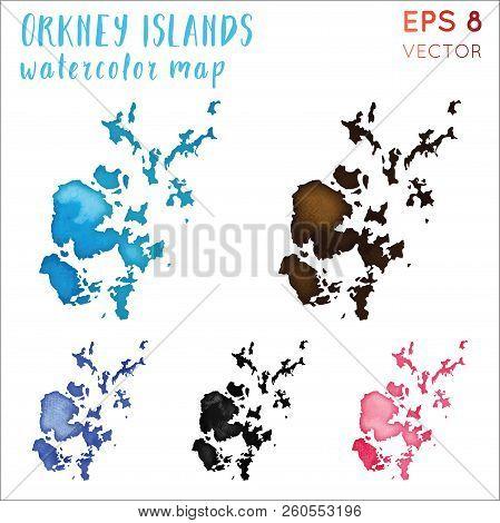 Orkney Islands Watercolor Island Map. Handpainted Watercolor Orkney Islands Map Set. Vector Illustra