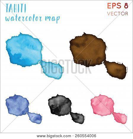 Tahiti Watercolor Island Map. Handpainted Watercolor Tahiti Map Set. Vector Illustration.