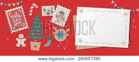 Festive Christmas Border, Frame, Card With Christmas Tree And Festive Decorations Garland, Sock, Sta