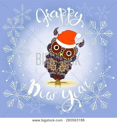 Lettering Happy New Year, Cute Violet Owl In Red Hat, Coloring Page Design Element Stock Vector Illu