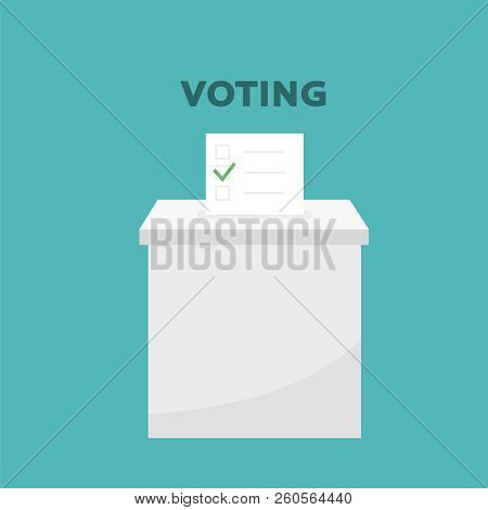 Presidential Election Banner Background. Election Vote, Hand Holding Ballot Paper For Election Vote