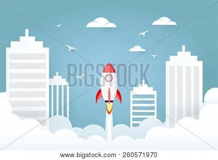 Rocket Launch From City. Business Boost Or Start Up Concept