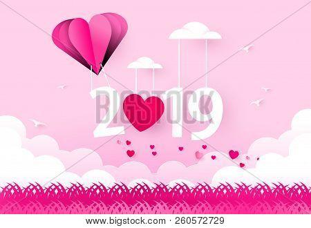 Happy New Year 2019. Heart Air Balloon. Love Theme