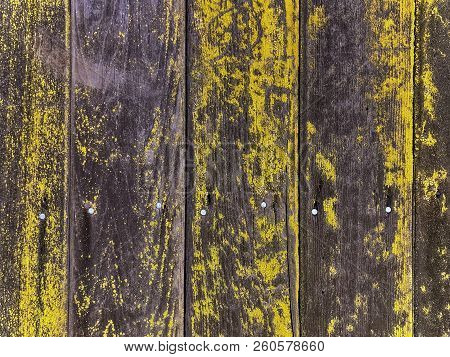 Full Frame Image Of A  Moss Covered Rustic Wooden Fence Background
