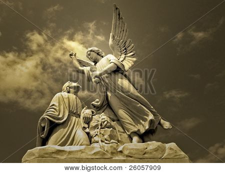 angel and  christ toned monocrome poster