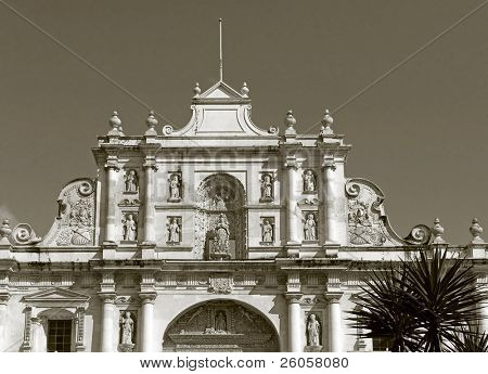 church in antigua guatermala  toned monochrome