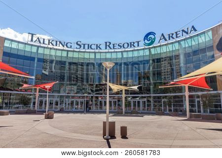 Phoenix,Az/USA - 9.26.18  Talking Stick Resort Arena is home to the Arizona Rattlers, Phoenix Suns and Phoenix Mercury, located in downtown Phoenix, it also hosts major recording artists concerts.