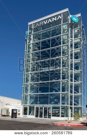 Tempe,AZ/USA - 9.26.18:  Carvana's vending machine location; a unique tech start-up founded by Ernie Garcia based in Tempe, Az. It is  an online-only used car dealer point of pickup.