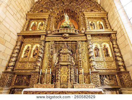 Escalhao, Portugal - June 21, 2018:  Detail Of The 16th Century Baroque Main Altarpiece With Magnifi