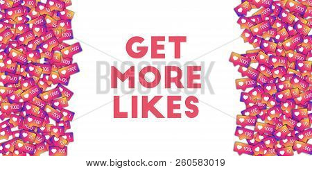 Get More Likes. Social Media Icons In Abstract Shape Background With Gradient Counter. Get More Like