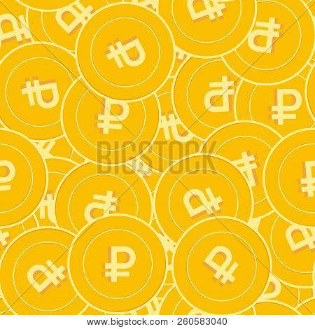 Russian Ruble Coins Seamless Pattern. Decent Scattered Rub Coins. Big Win Or Success Concept. Russia