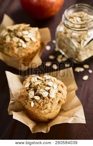 Fresh Homemade Apple And Oatmeal Muffins With Oats On Top (selective Focus, Focus On The First Oats