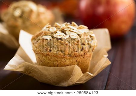 Fresh Homemade Apple And Oatmeal Muffins With Oats On Top (selective Focus, Focus On The Oats In The