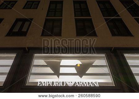 Munich, Germany - December 17, 2017: Emporio Armani Logo On Their Main Store In Munich, Germany. Emp