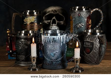 Morgantown, Wv - 28 September 2018: Official Winter Is Coming Tankard From Hbo Series The Game Of Th