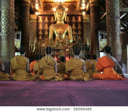 monks in meditation in loung phabang loas poster