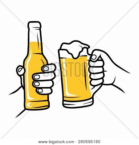 Hands Holding Beer Glasses. Cheerful People Clinking. Mates Drinking Beer In Bar. Vector Background.