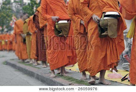 monks in  Loung phabang lao