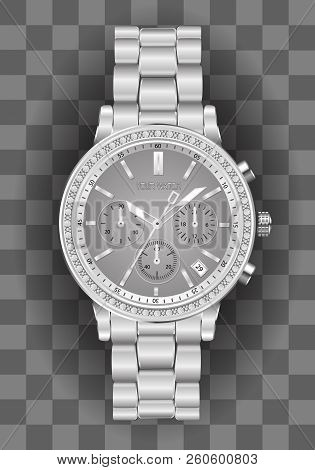 Realistic Clock Chronograph Watch For Men Silver Diamond Grey Face On Checkered Background Luxury Ve