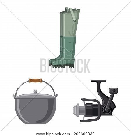 Isolated Object Of Fish And Fishing Logo. Set Of Fish And Equipment Vector Icon For Stock.