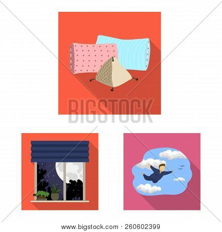 Vector Illustration Of Dreams And Night Logo. Set Of Dreams And Bedroom Vector Icon For Stock.