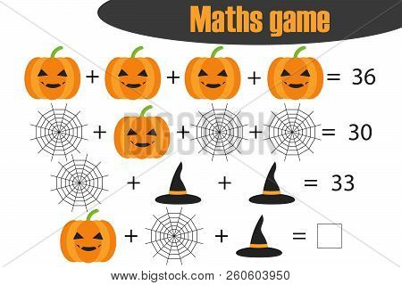 Maths Game With Pictures (halloween Theme) For Children, Middle Level, Education Game For Kids, Pres