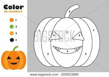 Pumpkin In Cartoon Style, Color By Number, Halloween Education Paper Game For The Development Of Chi