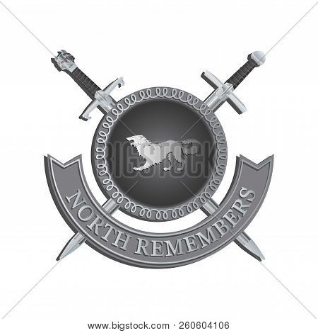Silhouette of a ferocious beast on a shield. NORTH REMEMBERS. Symbol of strength. Contrast image on a gray background poster