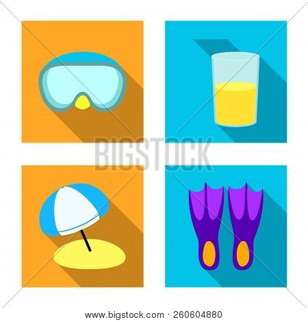 Isolated Object Of Equipment And Swimming Icon. Collection Of Equipment And Activity Stock Vector Il