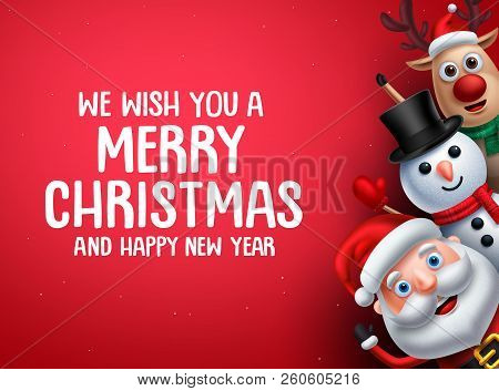 Christmas Vector Background Template With Christmas Characters. Santa Claus, Snowman And Reindeer Wa