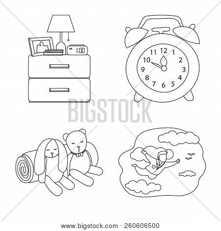 Vector Illustration Of Dreams And Night Sign. Collection Of Dreams And Bedroom Stock Symbol For Web.