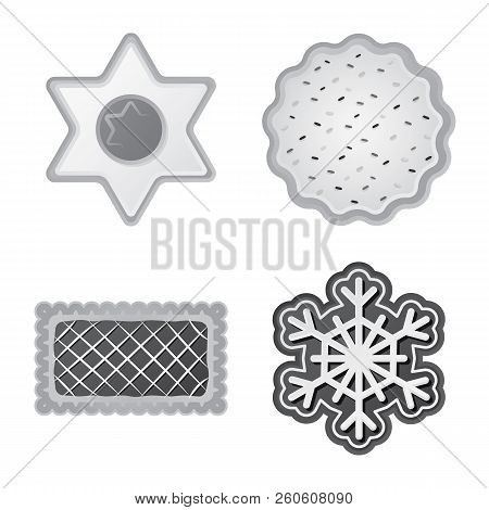 Vector Illustration Of Biscuit And Bake Logo. Set Of Biscuit And Chocolate Stock Vector Illustration