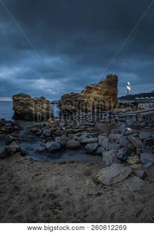 Odessa, Ukraine - 09.09.2018. Otrada Beach In Odessa, Ukraine, In A Gloomy Summer Morning. Dark Clou