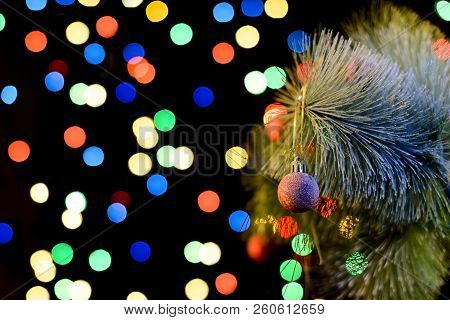 Decorated Christmas Tree, Sparkling And Fairy Background With Copy Space. New Year Background With F