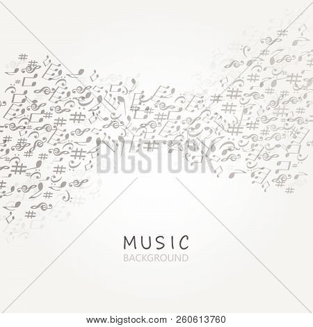 Music Background With Music Notes And G-clef Vector Illustration Design. Artistic Music Festival Pos