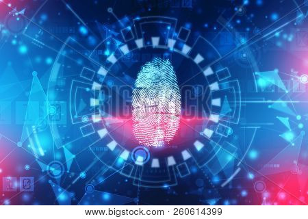 Finger Print Scanning Identification System. Biometric Authorization And Business Security Concept,
