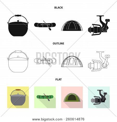 Isolated Object Of Fish And Fishing Icon. Set Of Fish And Equipment Vector Icon For Stock.