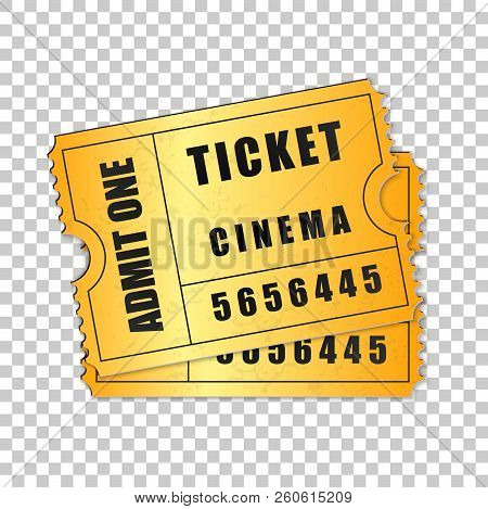 Realistic Two Gold Cinema Tickets Isolated Object On Transparent Background. Cinema, Theater, Concer