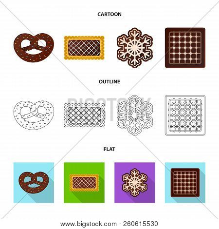 Vector Illustration Of Biscuit And Bake Symbol. Collection Of Biscuit And Chocolate Stock Vector Ill
