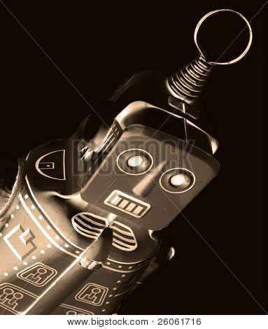 retro robot in monochrome
