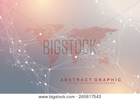 Geometric Abstract Background With Connected Lines And Dots. Artificial Intelligence Background. Mol