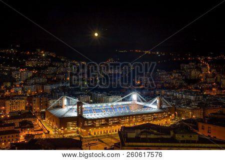 Genoa, Italy - October 29, 2015 - Aerial View Of The Football Stadium