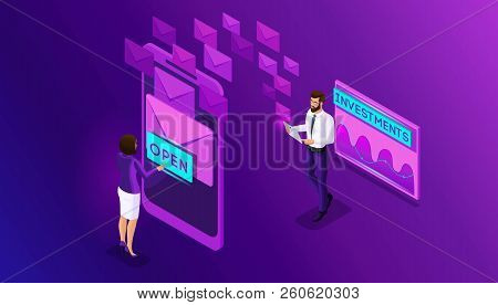 Isometric Business Men And Business Women Browse E-mails A Smartphone. Analytics And Schedule Data M