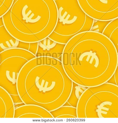 European Union Euro Coins Seamless Pattern. Unique Scattered Eur Coins. Big Win Or Success Concept.