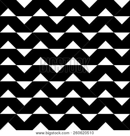 Abstract Arabesque Hypnotic Fence Zigzag Horizontal Perspective Black On Transparent Background